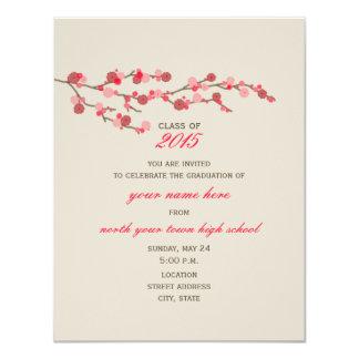 Invitación 2015 de la graduación de la flor de invitación 10,8 x 13,9 cm