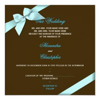 Invitación 2 del boda de la cinta de la aguamarina