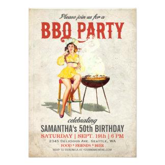 Invitación 2 del cumpleaños del Bbq del vintage