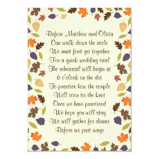 Invitación 4x6 del poema de la cena del ensayo de