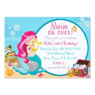 Invitación 5 x 7 de la fiesta en la piscina del