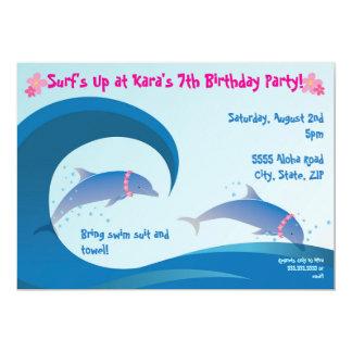 Invitación 5 x 7 del cumpleaños de los delfínes de invitación 12,7 x 17,8 cm