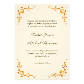 Invitación 5 x del boda del follaje del otoño