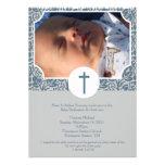 Invitación 5x7 de la foto del bautismo del MUCHACH