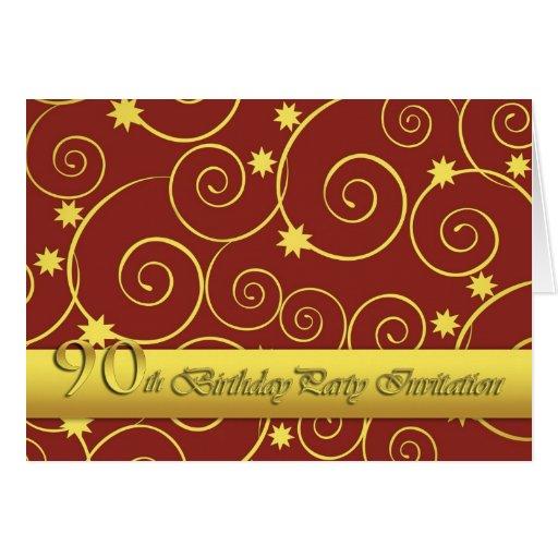 invitación 90party con remolinos de oro en rojo tarjetón