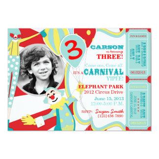Invitación A7-AQRD del cumpleaños de los payasos