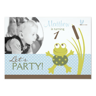 Invitación A7-C del cumpleaños de la rana de la Invitación 12,7 X 17,8 Cm