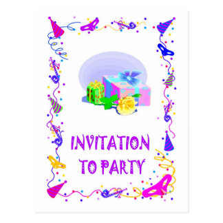 Invitación a ir de fiesta, paquetes postales