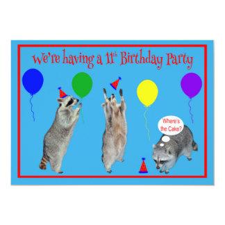 Invitación a la 11ma fiesta de cumpleaños invitación 12,7 x 17,8 cm