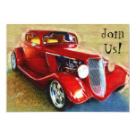 Invitación a la celebración con el coche clásico