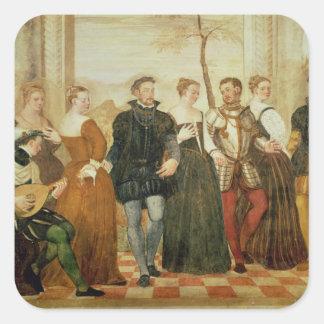 Invitación a la danza, 1570 pegatina cuadrada