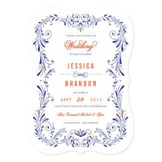 Invitación a mano anaranjada azul del boda del