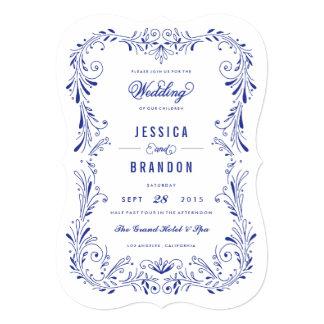 Invitación a mano azul del boda del follaje de