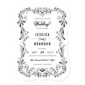 Invitación a mano blanca negra del boda del