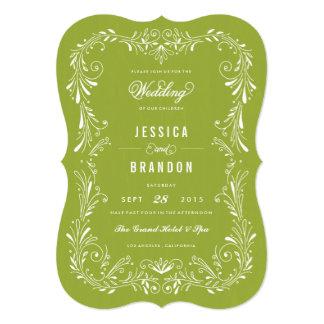 Invitación a mano del boda del follaje del verde