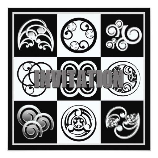 Invitación abstracta - negro y blanco multi del