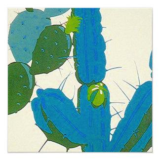 Invitación abstracta retra del cuadrado del cactus invitación 13,3 cm x 13,3cm