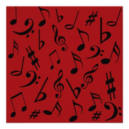 Invitación adaptable de las notas musicales roja y