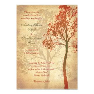 Invitación adaptable del boda del árbol de la caíd