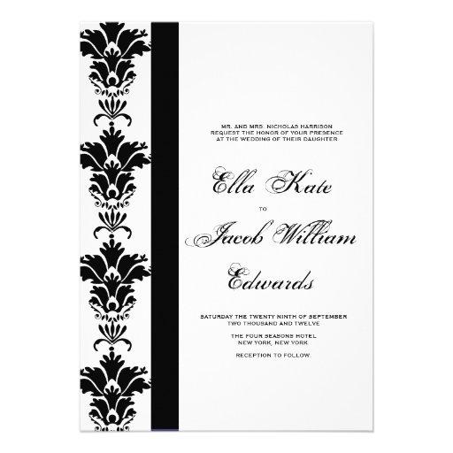 Invitación adaptable del boda del damasco
