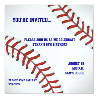 Invitación adaptable del cumpleaños del béisbol invitación 13,3 cm x 13,3cm