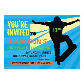 Invitación adolescente del cumpleaños del skater