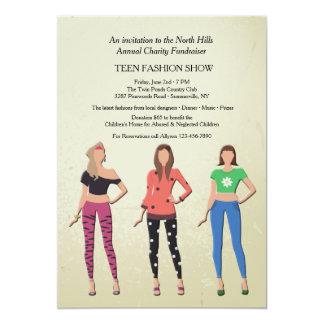 Invitación adolescente del desfile de moda de los