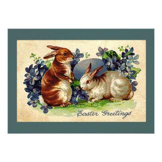 Invitación adorable de Pascua de los conejitos