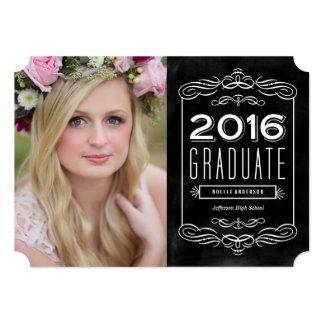 Invitación adornada de la graduación de la pizarra