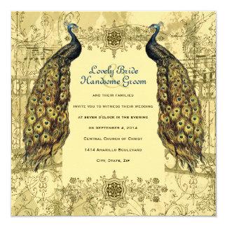 Invitación adornada del boda del vintage del pavo