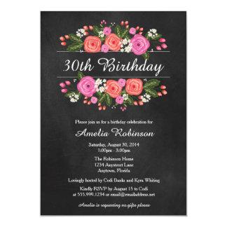 Invitación adulta del cumpleaños, estilo floral de