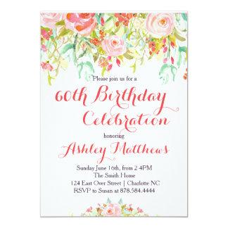 Invitación adulta floral hermosa del cumpleaños