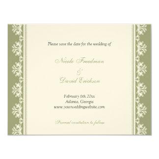 Invitación afiligranada verde del boda de la
