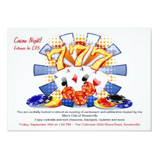 Invitación afortunada de la noche del casino