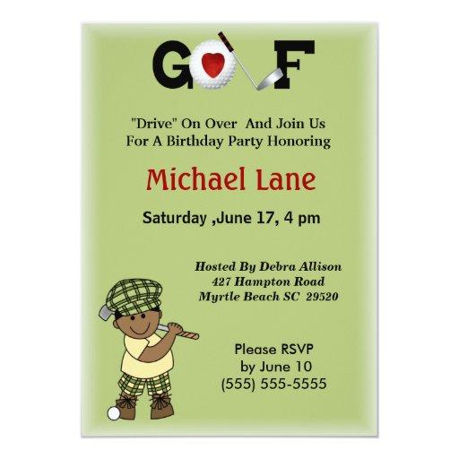 Invitación afroamericana del golfista de los niños invitación 12,7 x 17,8 cm