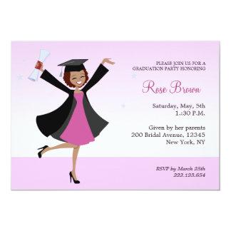 Invitación afroamericana graduada del fiesta del invitación 12,7 x 17,8 cm