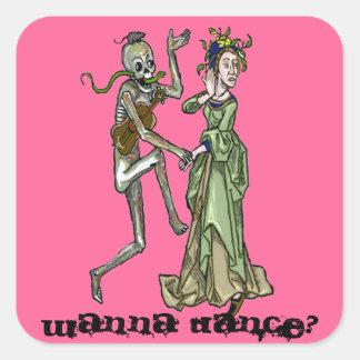 invitación al danse (macabro) pegatina cuadrada
