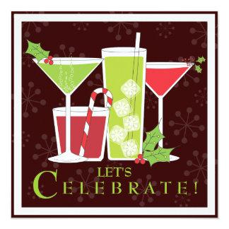 Invitación alegre del cóctel del navidad del acebo