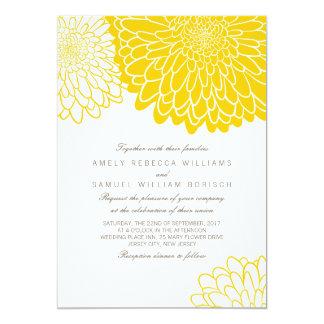 Invitación amarilla blanca del boda del crisantemo invitación 12,7 x 17,8 cm