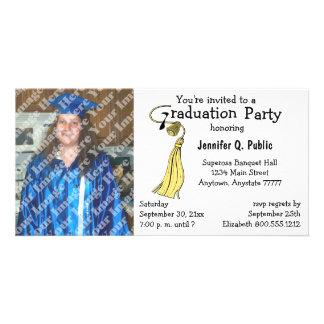 Invitación amarilla de la foto de la fiesta de gra tarjetas fotograficas