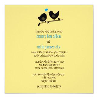 invitación amarilla de los pájaros