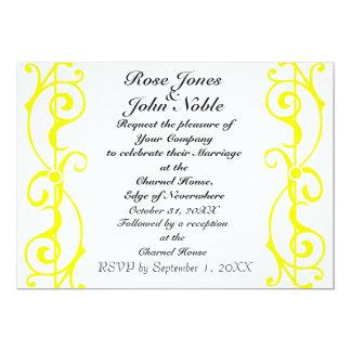 Invitación (amarilla) de marfil del boda de la