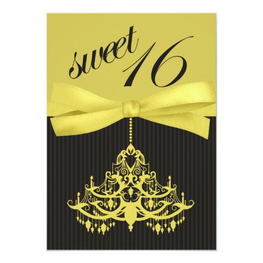 Invitación amarilla de moda del dulce dieciséis de