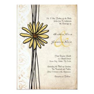 Invitación amarilla del boda de la margarita del