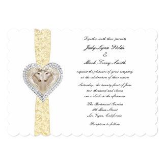 Invitación amarilla del boda del cordón del