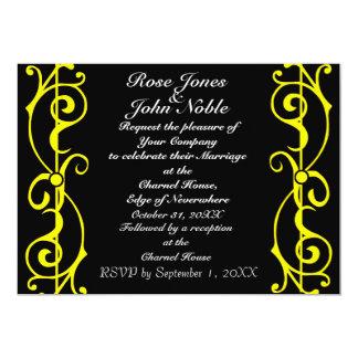 Invitación (amarilla) del boda del ébano de la