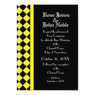 Invitación (amarilla) del boda del ébano del