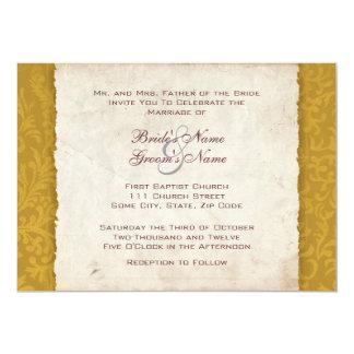 Invitación amarilla del boda del país de la invitación 12,7 x 17,8 cm