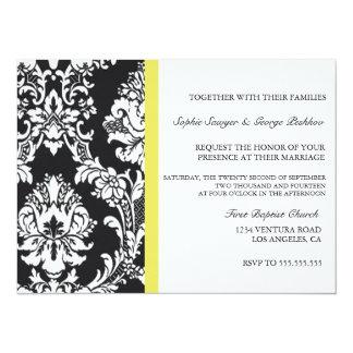 Invitación amarilla del boda del vintage