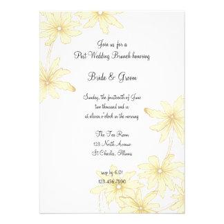 Invitación amarilla del brunch del boda del poste